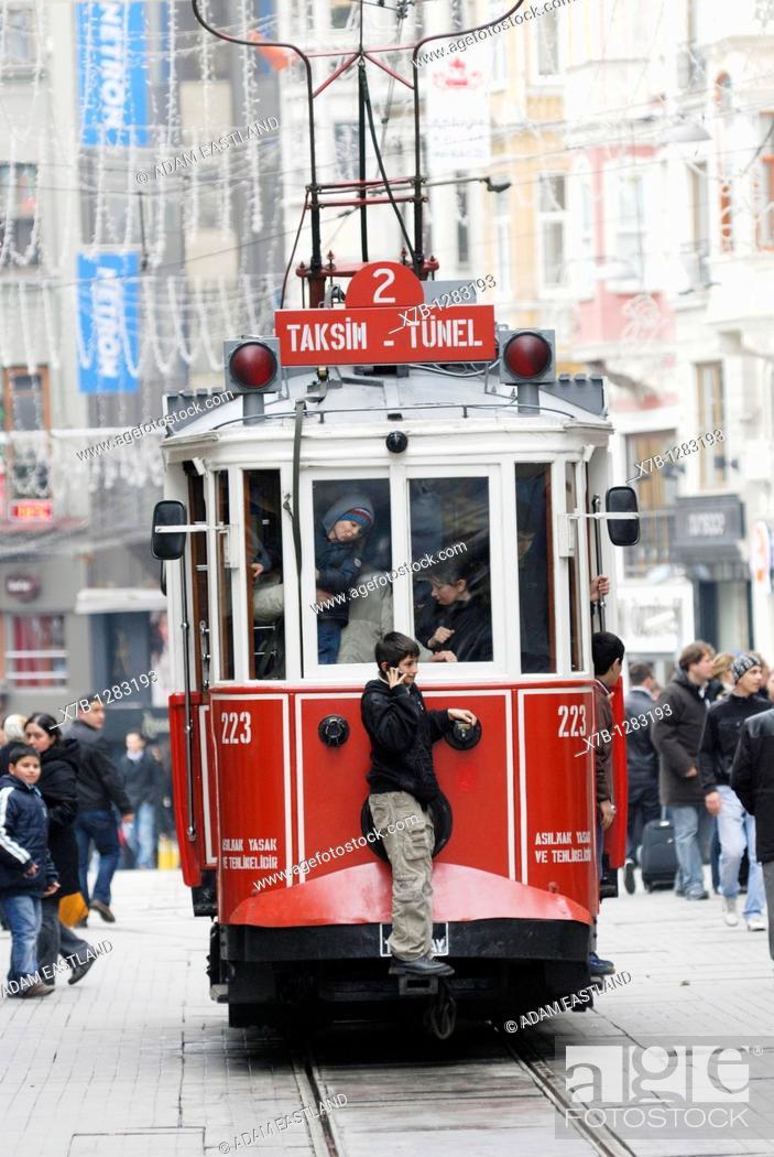 Stock Photo: Istanbul  Turkey  Tram on Istiklal Caddesi.