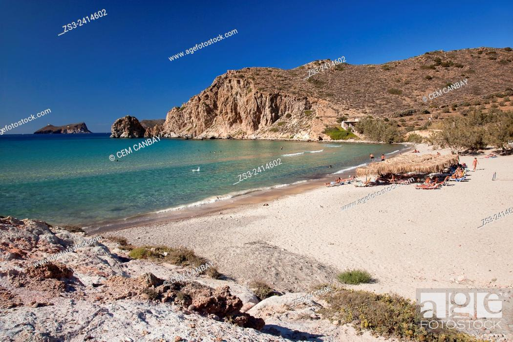 Stock Photo: Scene from the Plathiena beach, Milos, Cyclades Islands, Greek Islands, Greece, Europe.