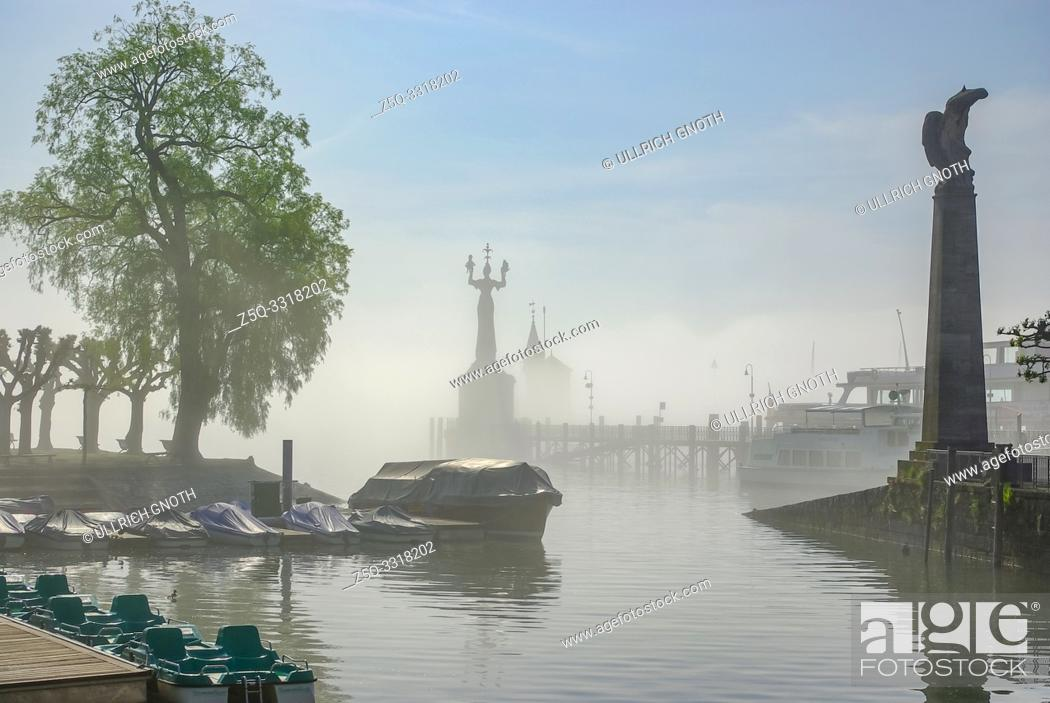 Stock Photo: Konstanz, Baden-Wurttemberg, Germany, Europe: Mist from Lake Constance covers the harbour.