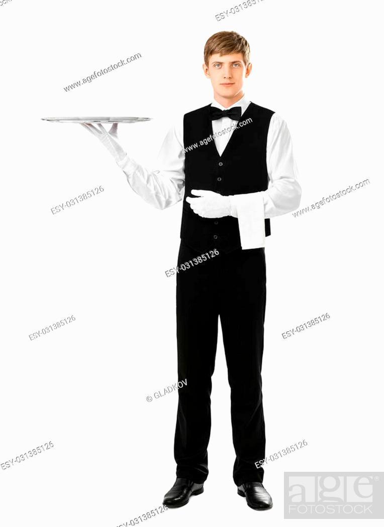 Photo de stock: Full length portrait of handsome elegant waiter holding empty silver tray isolated on white background.