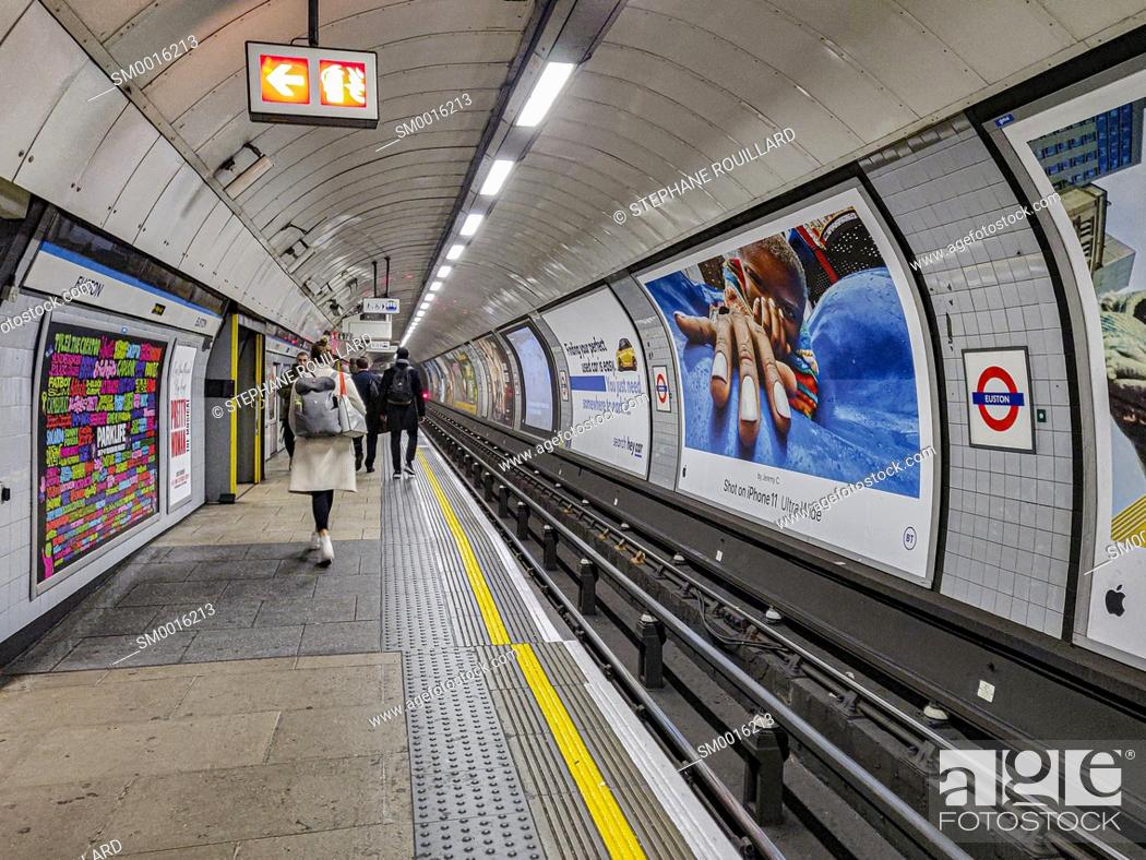 Stock Photo: The famous London Underground seems to suck travelers here, at Euston station.