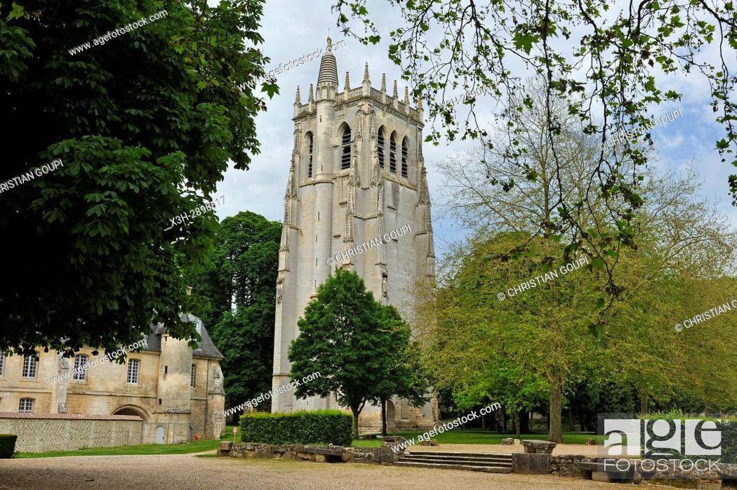 Stock Photo: Tour Saint-Nicolas of Benedictine Abbey of Our Lady of Bec, Bec-Hellouin, labelled Les Plus Beaux Villages de France, Eure department, Normandie region, France.