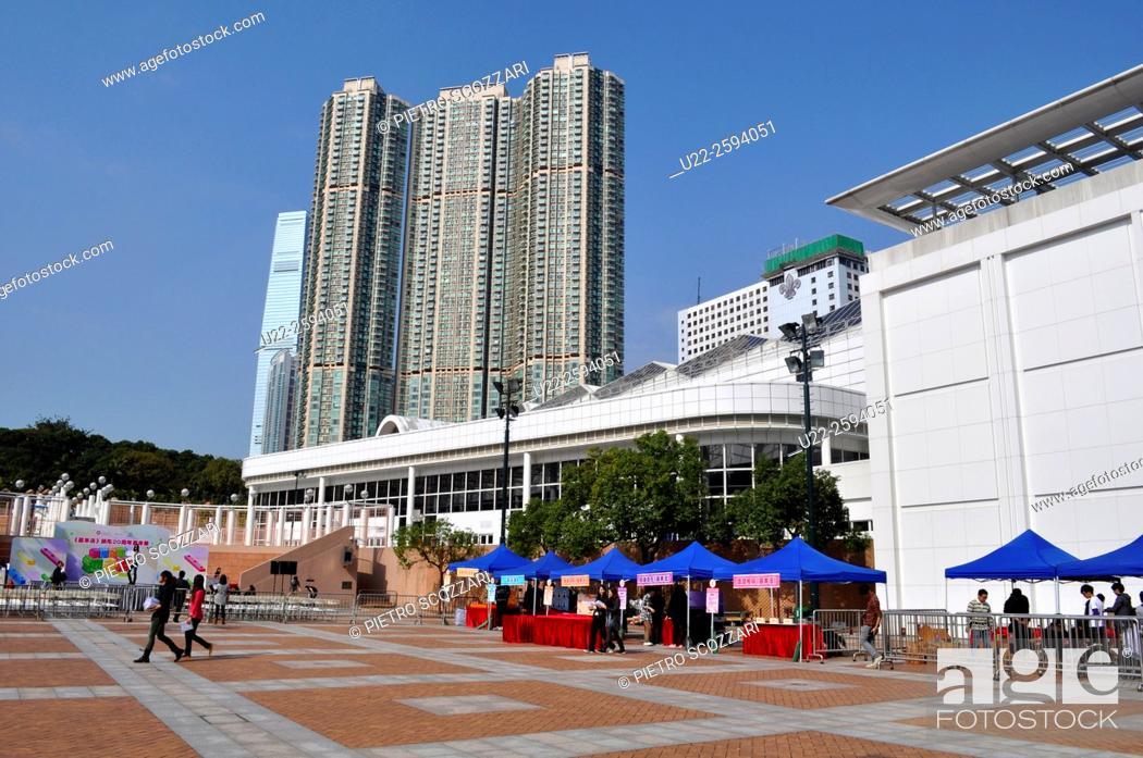 Stock Photo: Hong Kong: huge condos by Nathan Road, Tsim Sha Tsui.