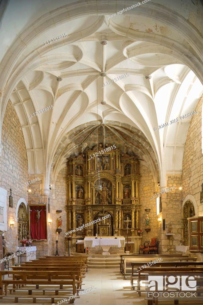 Stock Photo: Church, Ahedo de Butrón, Burgos province, Castilla-León, castille-Leon, Spain.