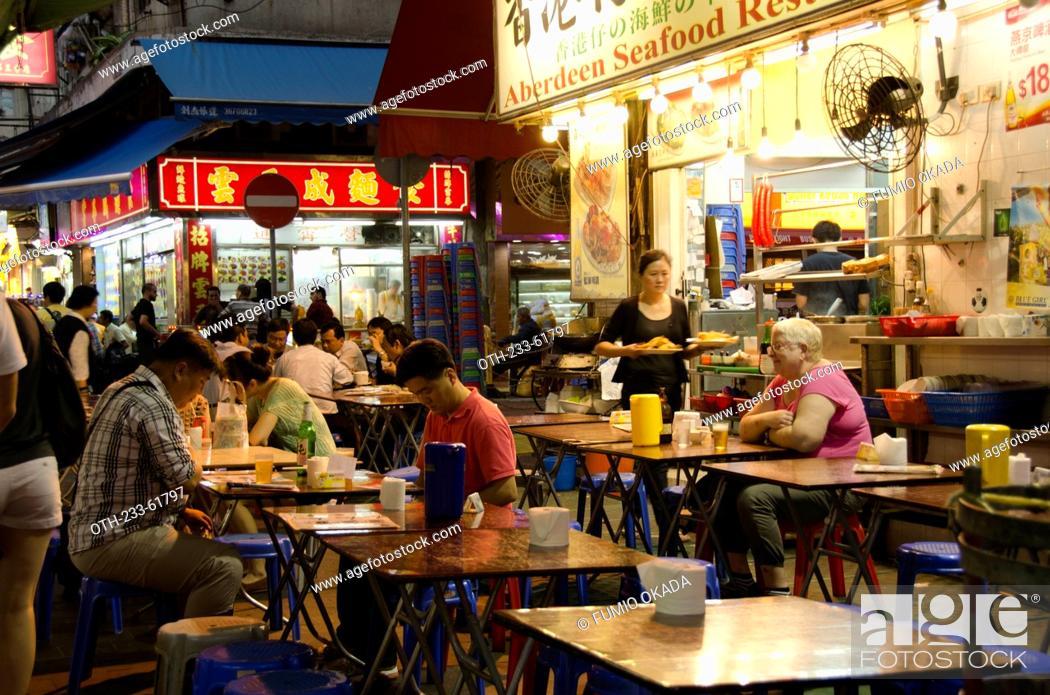 Open-air cooked food stall at Jordan, Kowloon, Hong Kong