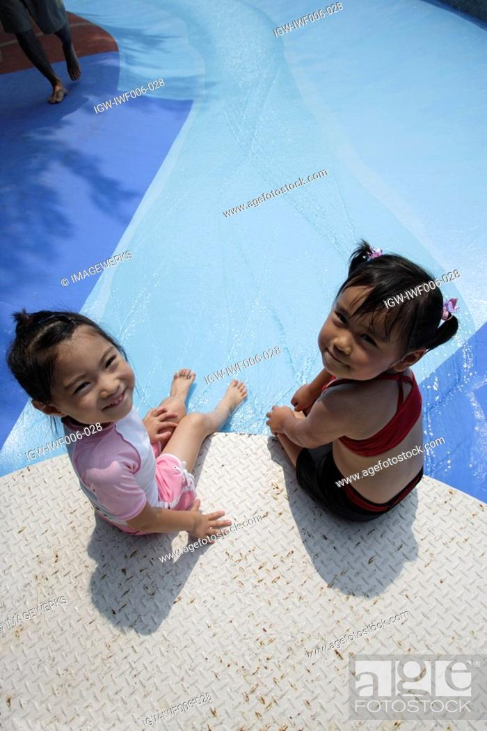 Stock Photo: Two girls at pool.