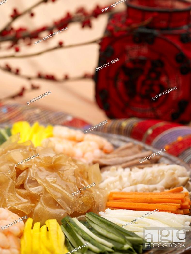 Stock Photo: food, mixed seafood salad, tableclothe, decoration, food styling, mixed seafood dish.