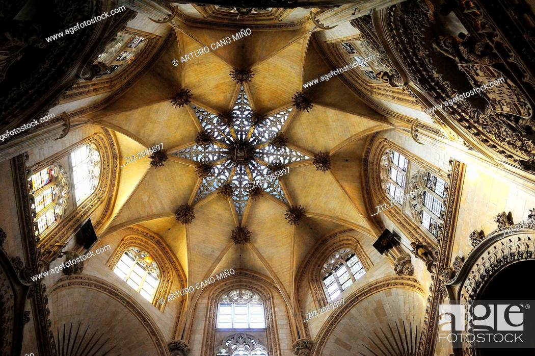Stock Photo: Condestables chapel, vault, Cathedral, Burgos, Spain.