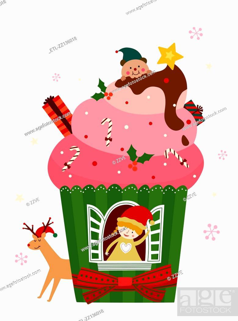 Stock Photo: Christmas ice cream.