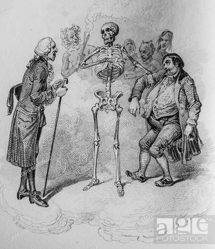 Stock Photo: death, florian fables illustrated by victor adam, publisher delloye, desme 1838.