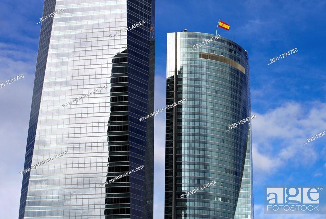 Stock Photo: Torre de Cristal and Torre Espacio, CTBA, Cuatro Torres Business Area, Madrid, Spain.