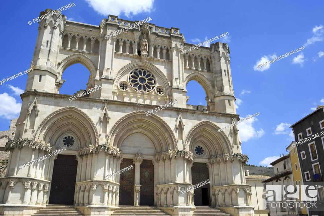 Stock Photo: Exterior View of the Cathedral of Cuenca, Castilla La Mancha, Spain.