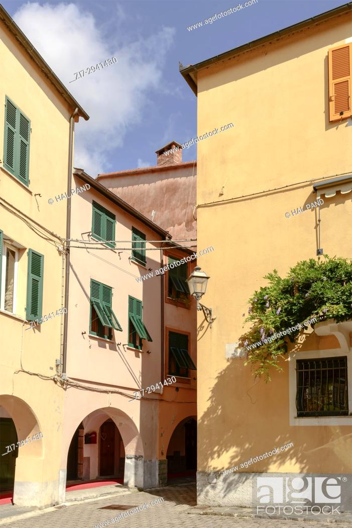 Stock Photo: foreshortening of green creeper on old picturesque house , shot in bright late summer light at Varese Ligure, Genova, Liguria, Italy.