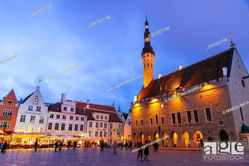Stock Photo: Tallinn Old City, Town hall square at nightfall. Tallinn, Harju County, Estonia, Baltic states, Europe.