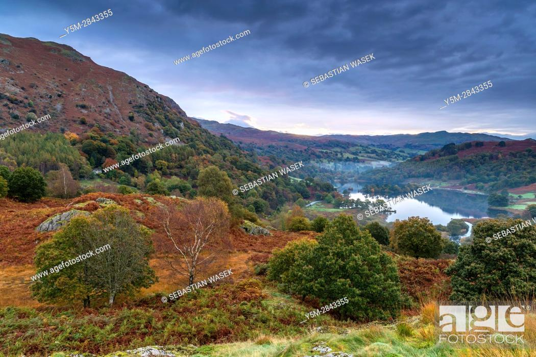 Stock Photo: A view over Rydal Water from White Moss Common, Lake District National Park, Cumbria, England, United Kingdom, Europe.