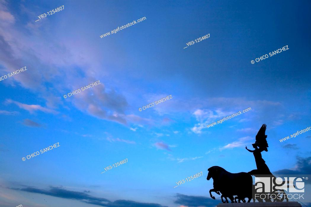 Stock Photo: A statue of a Quadriga, or charriot, at the National Monument of Victor Emmanuel II in Rome.