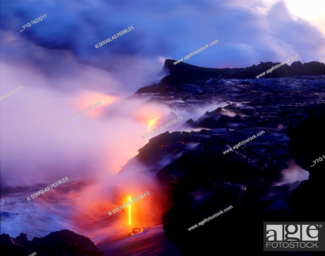 Stock Photo: Lava flowing into Ocean, Kilauea Volcano, HVNP, Island of Hawaii.