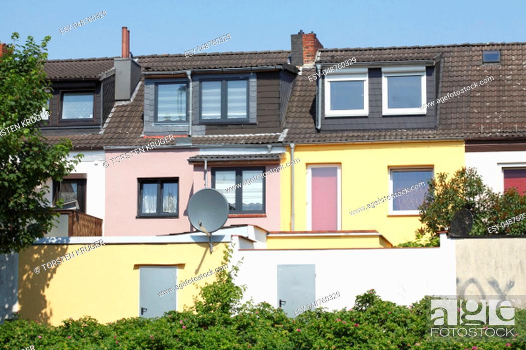 Stock Photo: Residential houses, single-family homes, residential buildings, terraced houses.