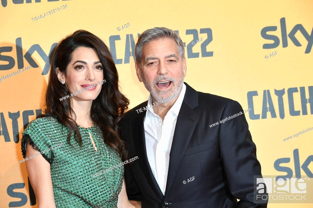 Photo de stock: George Clooney with Amal Clooney during 'Catch-22' TV show photocall, Rome, Italy - 13 May 2019.