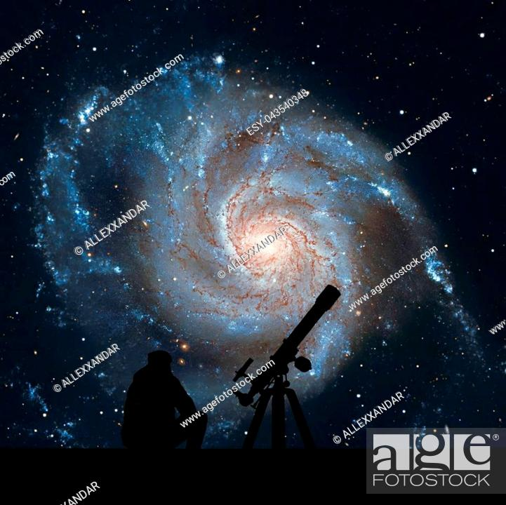 Stock Photo: Man with telescope looking at the stars. Pinwheel Galaxy Messier 101, M101 in the constellation Ursa MajorElements of this image are furnished by NASA.