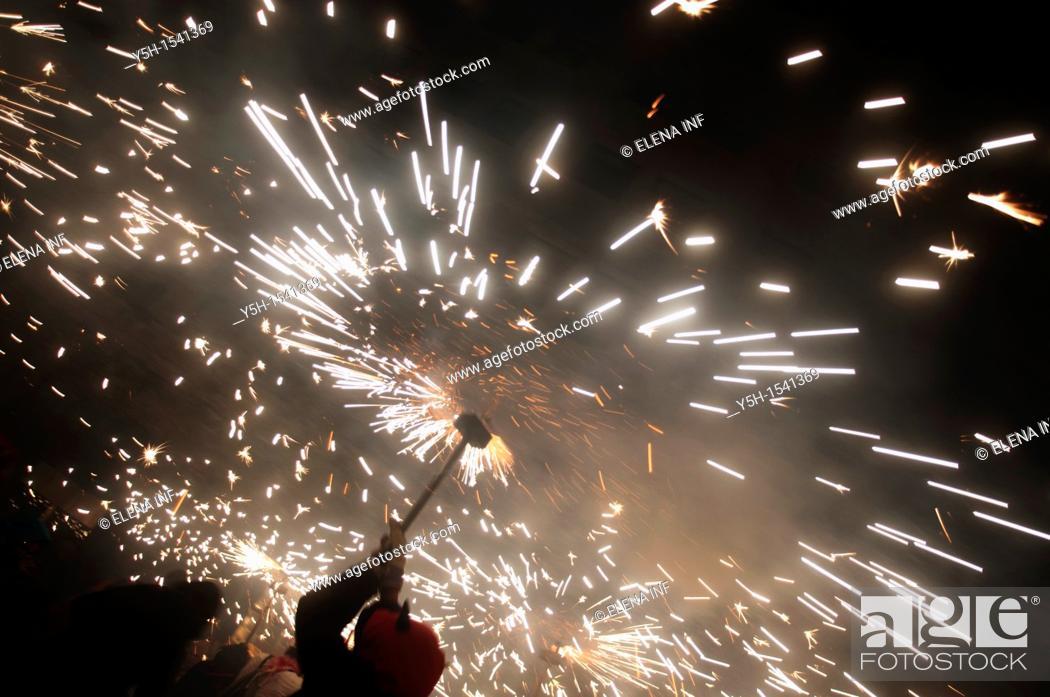 Stock Photo: Correfocs, La Merce feast, Barcelona, Catalonia, Spain.
