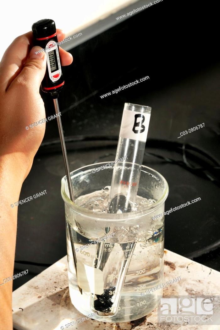 Stock Photo: A beaker of water and a numbered test tube containing an unknown metal are heated on a hot plate in a San Clemente, CA, high school chemistry lab calorimetry.