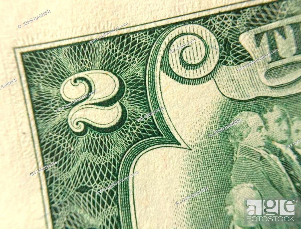 Stock Photo: Closeup of the corner of an American $2 bill.