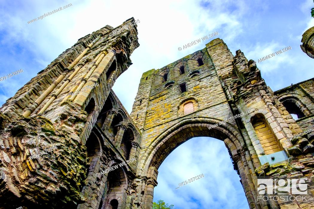Stock Photo: The ruins of Kelso Abbey, Scottish Borders.