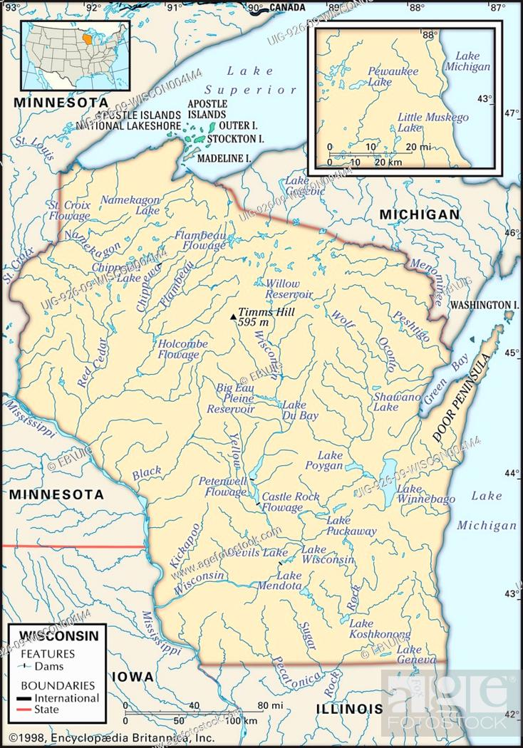 Physical map of the state of Wisconsin showing lakes, rivers ...