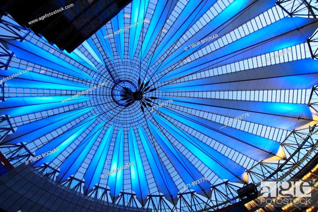Stock Photo: Germany, Berlin, Potsdamer Platz, Sony Center interior, modern architecture.