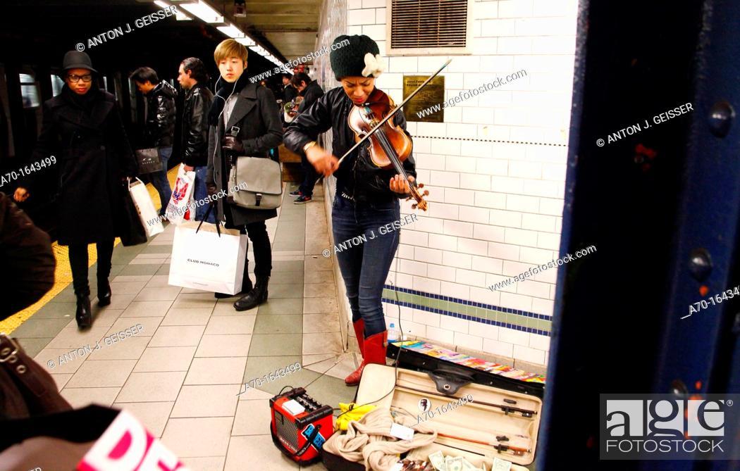 Stock Photo: Subway , musician ,manhattan , new york city.