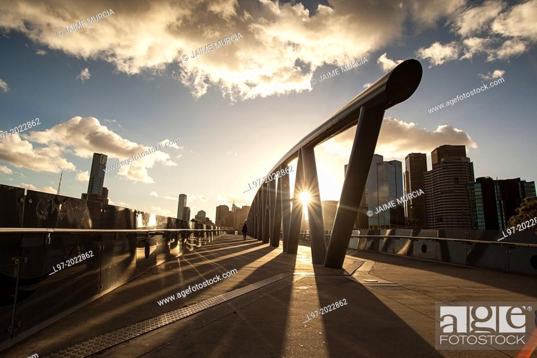 Stock Photo: Pedestrain bridge from the MCG stadium to Birrarung Marr park, Melbourne Australia.