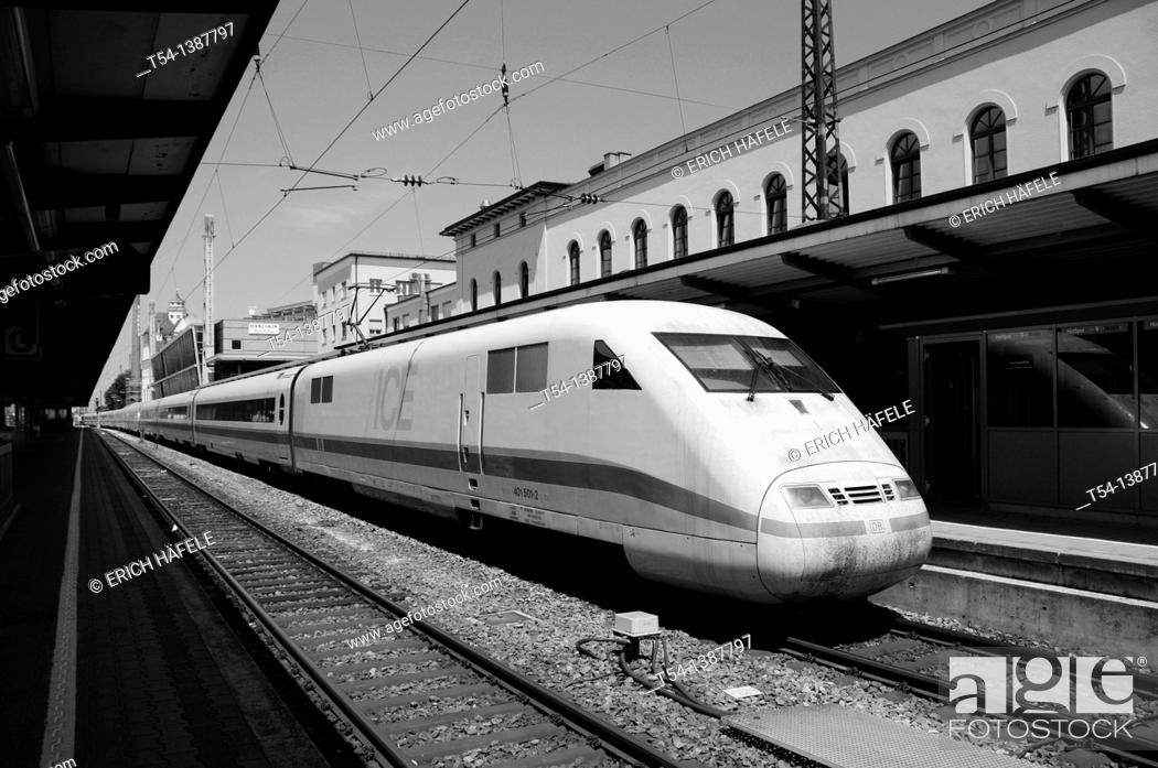 Stock Photo: ICE high speed train station in Augsburg.