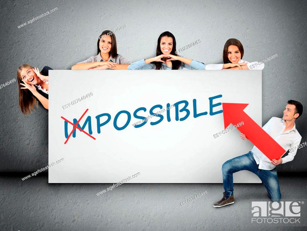 Stock Photo: Impossible word writing on white banner.