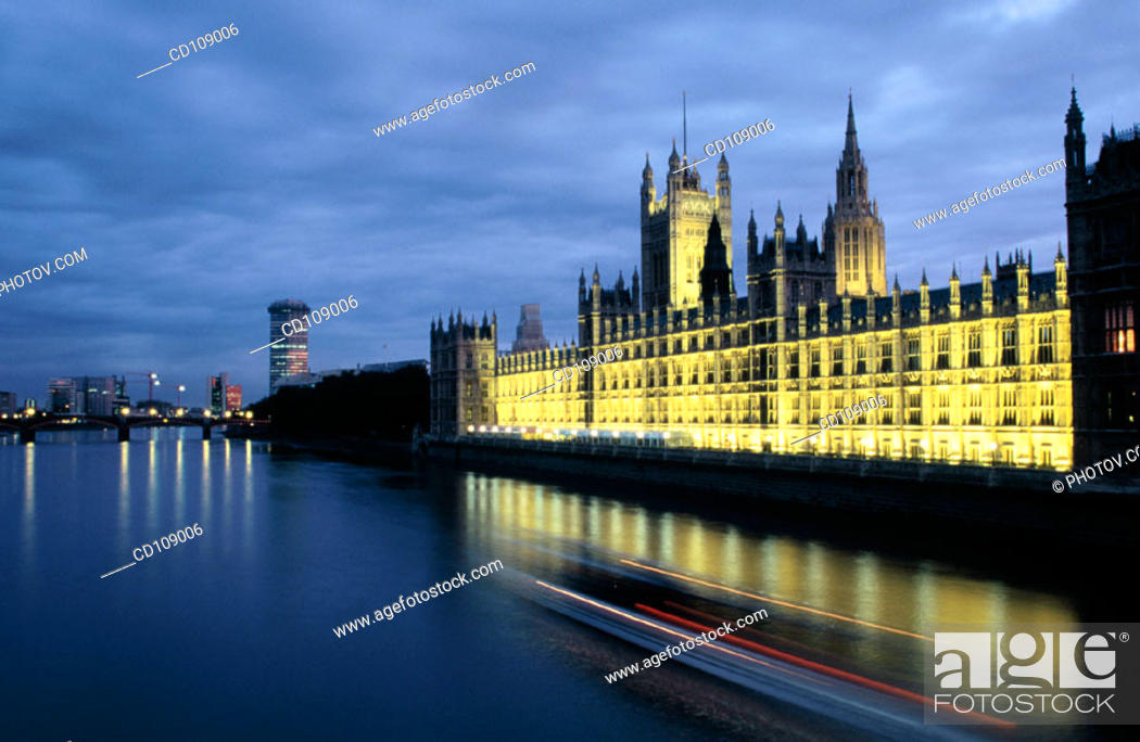 Stock Photo: Houses of Parliament (Westminster Palace) and Thames River. London. England.