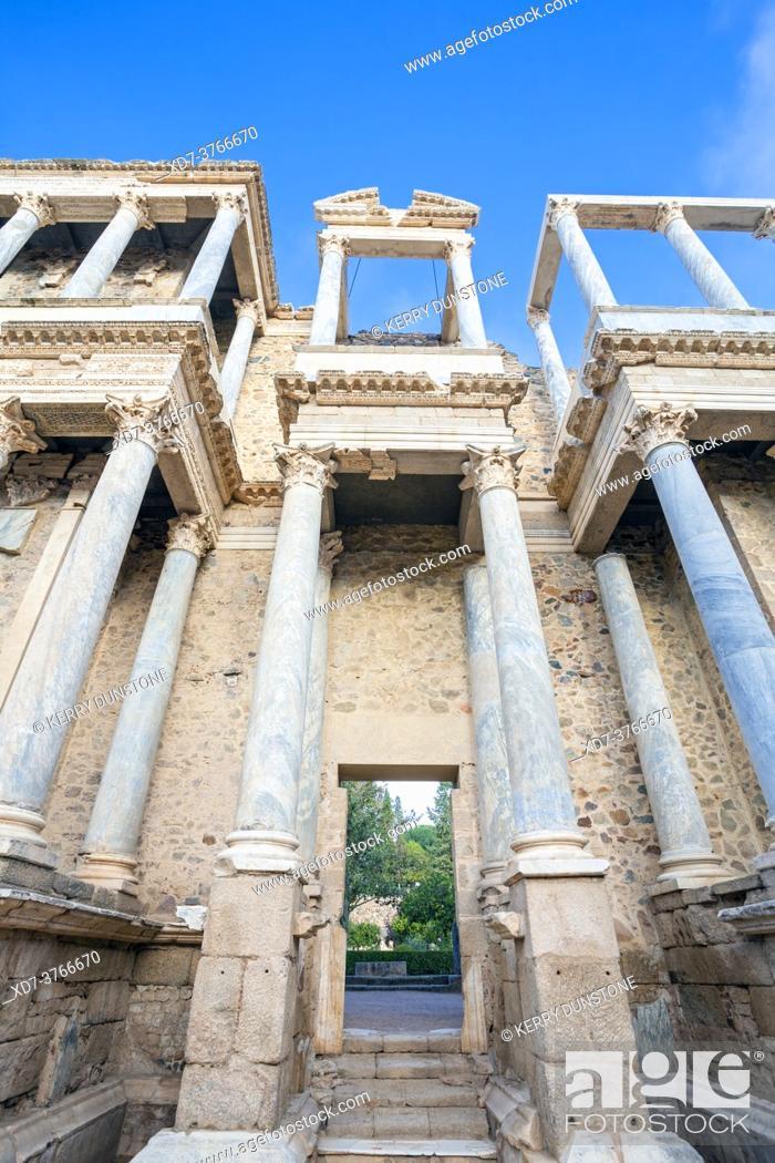 Stock Photo: Europe, Spain, Badajoz, Merida, The Ancient Roman Theatre (Teatro Romano de Mérida) showing Entrance to the Stage.