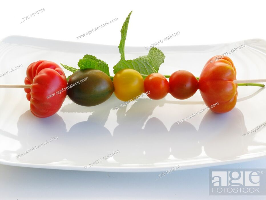 Stock Photo: Skewers of tomatoes.