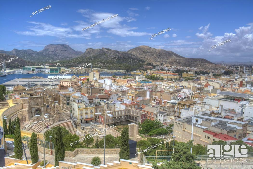 Stock Photo: Panoramic view over the city of Cartagena, Murcia, Spain.