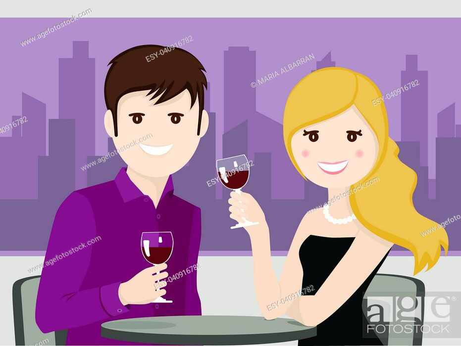 Stock Vector: Couple of lovers toasting in a restaurant.