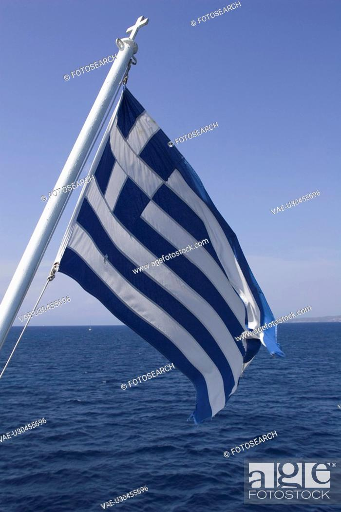 Stock Photo: Blue, Clear Sky, Close-Up, Day, Flag.