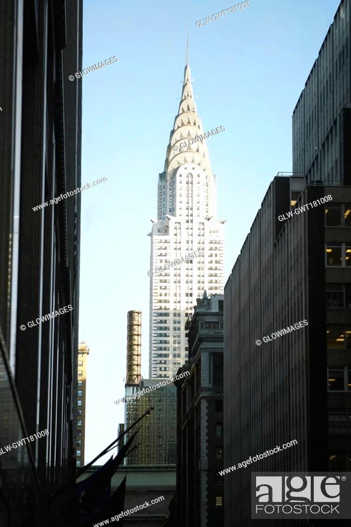 Stock Photo: Low angle view of buildings in a city, Chrysler Building, Manhattan, New York City, New York State, USA.
