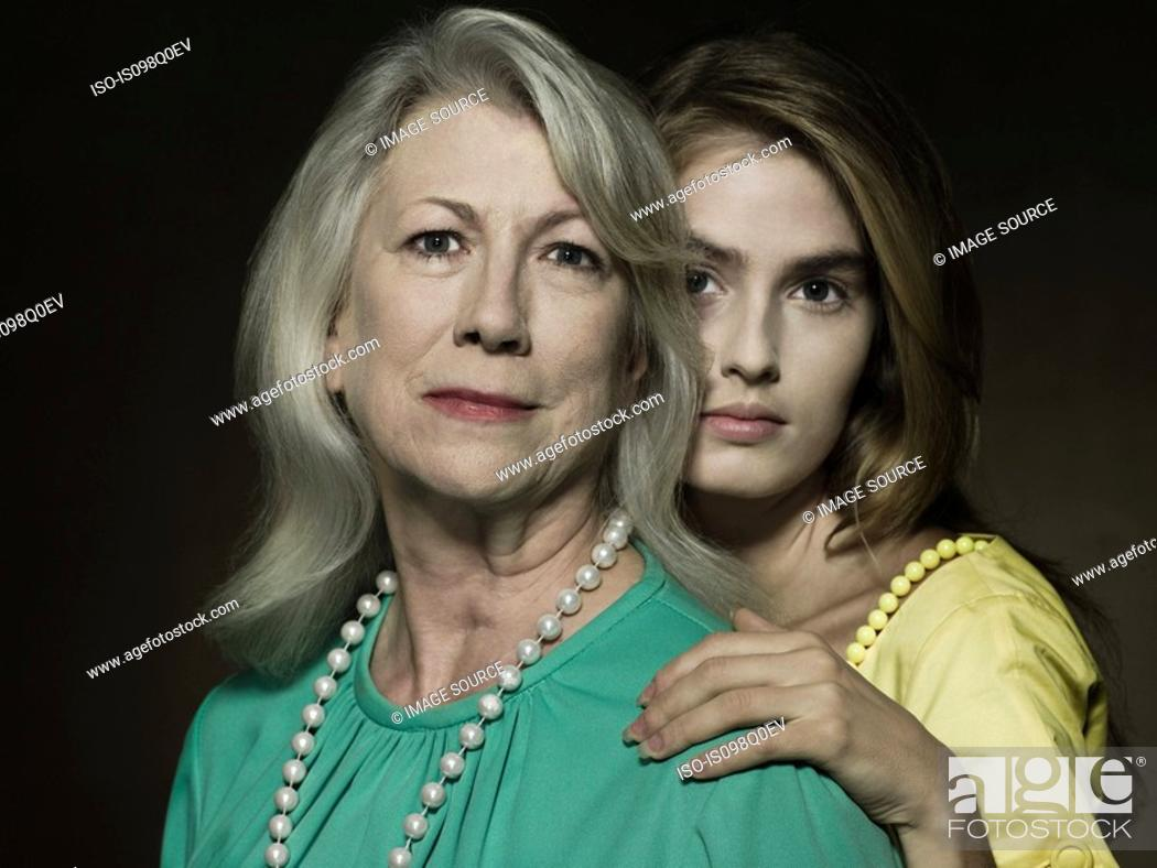 Stock Photo: Portrait of a senior and young woman.