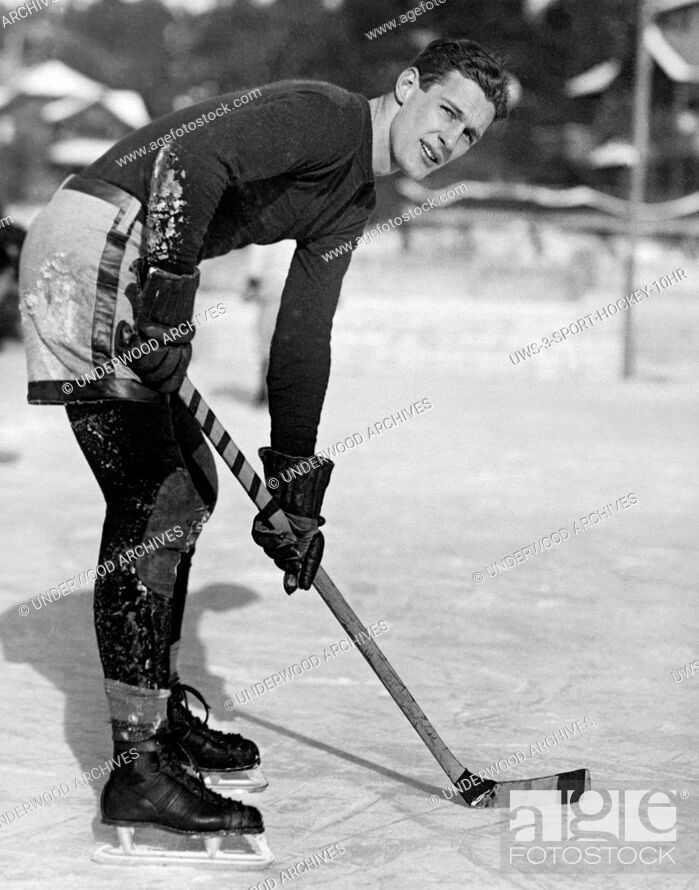 Stock Photo: Lake Placid, New York: January 1, 1926.A portrait of L. Noble of the Yale hockey team which defeated Williams College during the past week of winter games at.