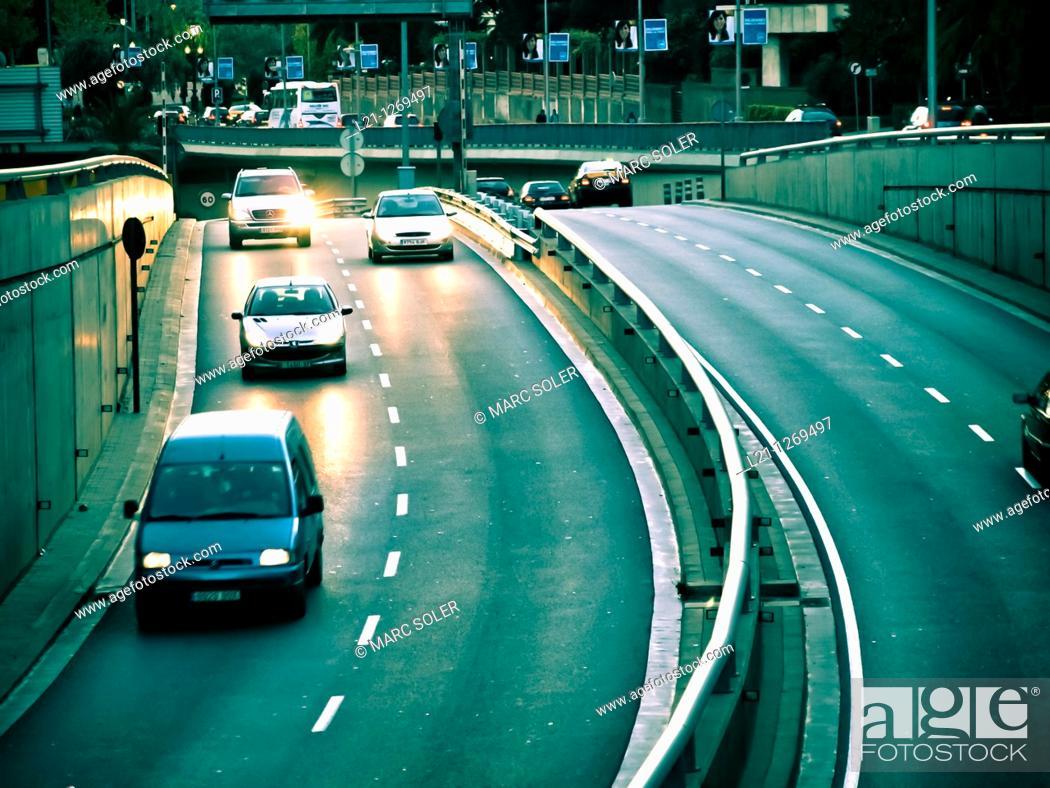 Stock Photo: Traffic at night. Cars and vans in Gran Via Carles III. Barcelona, Catalonia, Spain.