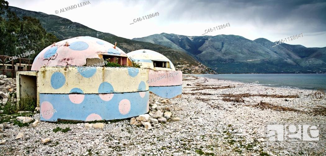 Stock Photo: Beach with Bunkers. Borsh. Albania.