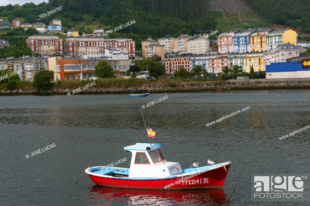 Stock Photo: Estuary and town, Viveiro, Lugo province, Region of Galicia, Spain, Europe.