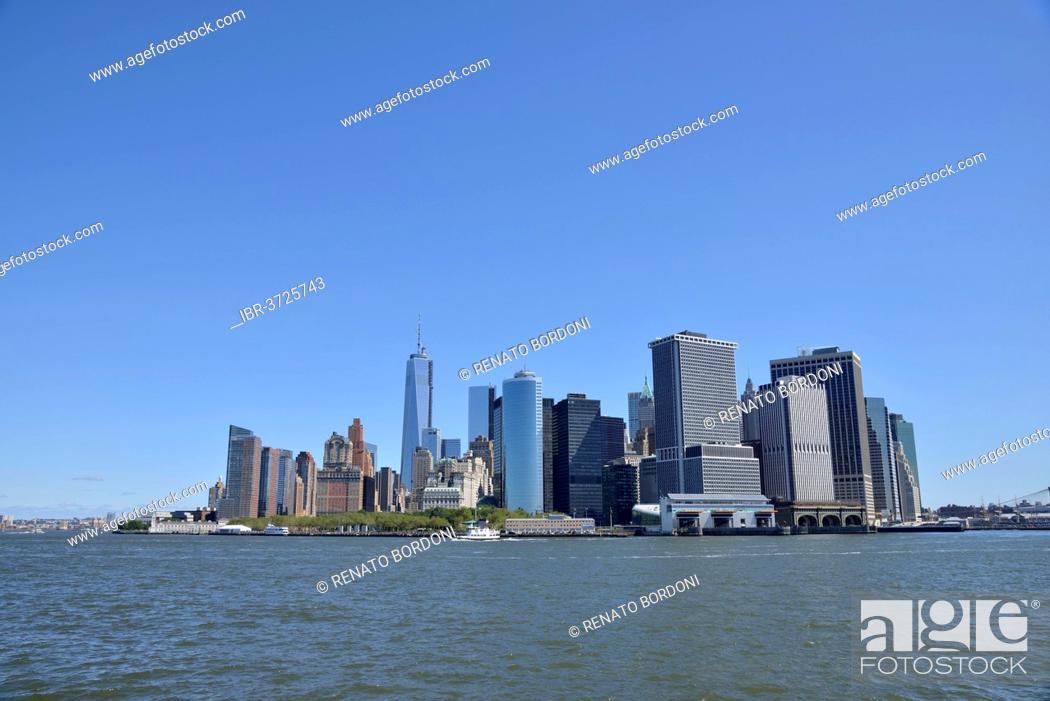 Stock Photo: Skyline of Lower Manhattan, Manhattan, New York City, New York, United States.