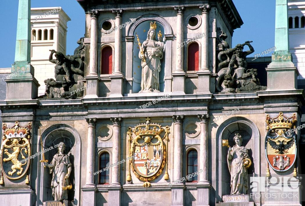 Stock Photo: Belgium, Antwerpen, City Hall, architecture detail.