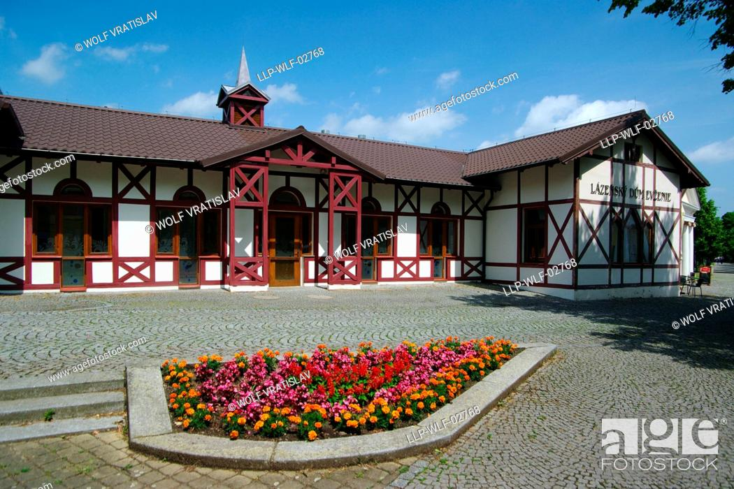 Stock Photo: Spa House Evzenie in Klasterec nad Ohri, Usti nad Labem Region, Czech Republic.