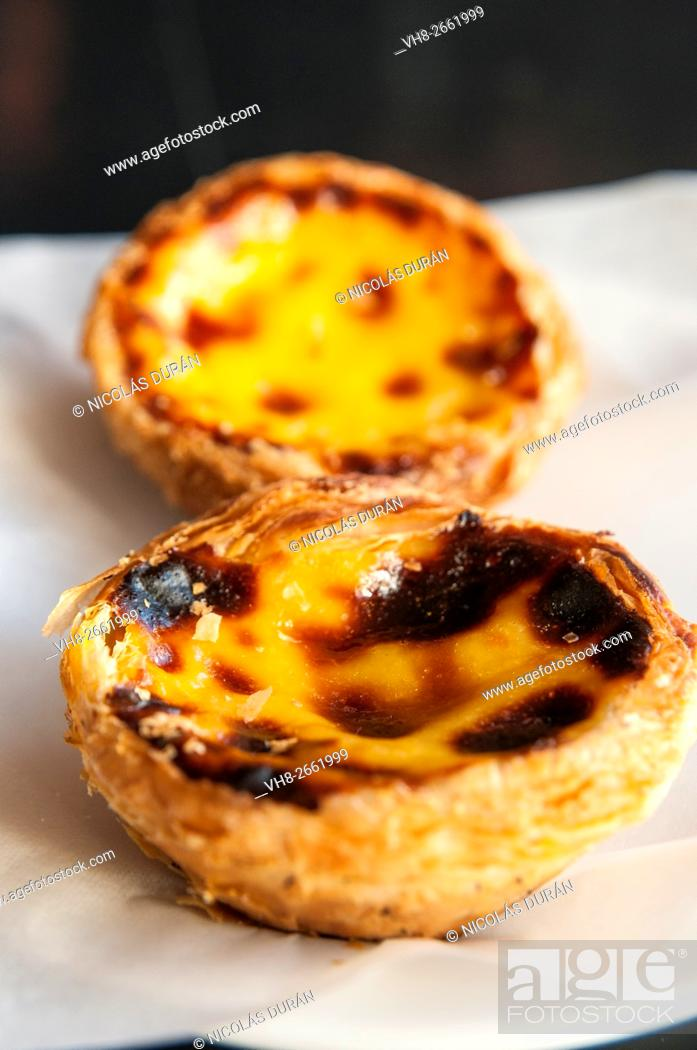 "Stock Photo: ""Pasteis de Belem"", Portuguese typical cake. Lisbon. Portugal."